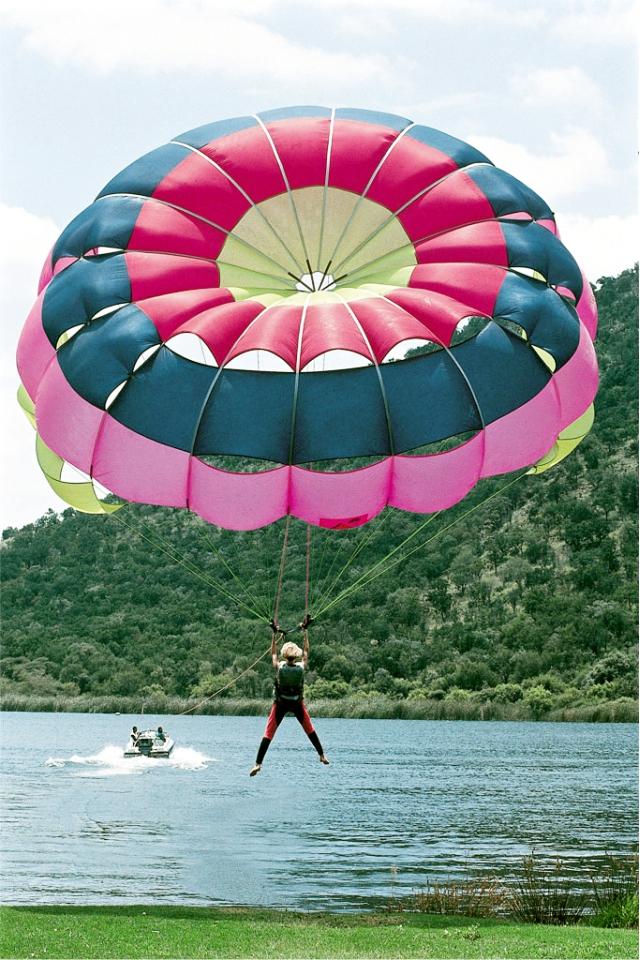 parasailing lift-off at Sun City Waterworld